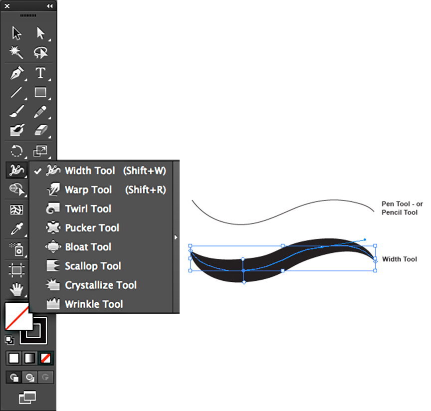 Drawing Lines With Pen Tool Photo : Width tool i adobe