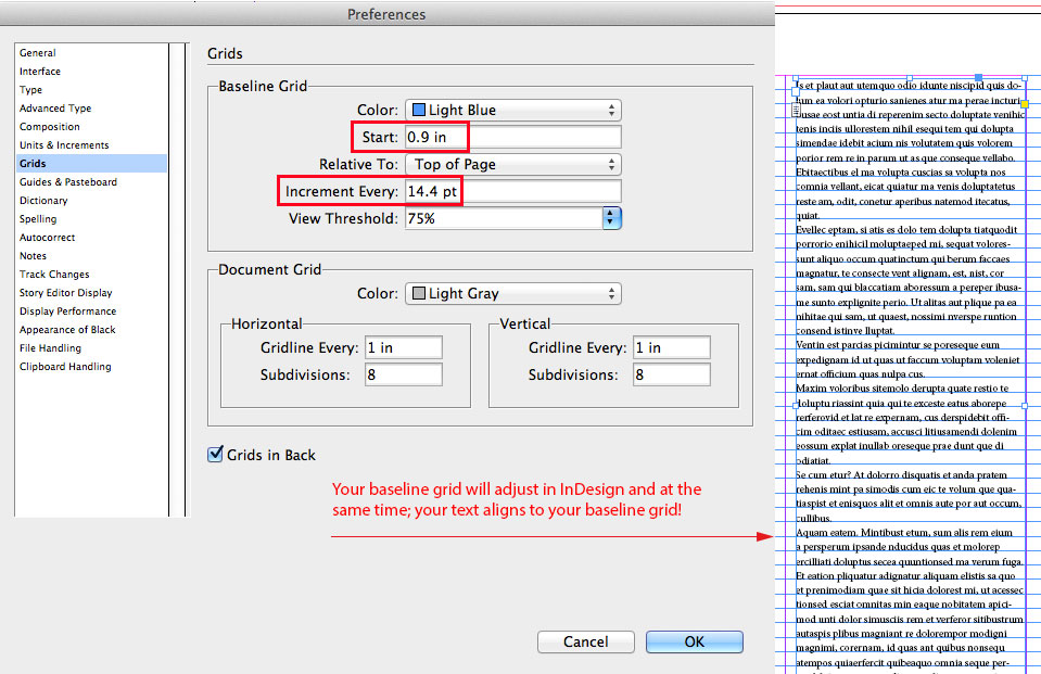 InDesign: Align your text to your baseline grid! | i-adobe