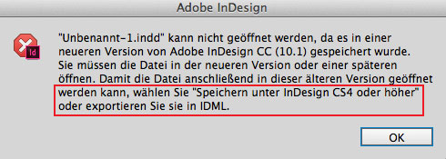 InDesign-Warnung